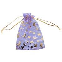 estrelas de organza venda por atacado-150 pçs / lote Wholesle New Purple Moon e Star Organza Bolsa Sacos de Presente Fit Festa de Casamento 100 * 140mm 120168