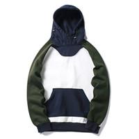 ingrosso coreano hoodie blu-Felpa con cappuccio Harajuku coreano Felpa con cappuccio in pile blu bianco Uomo Hip Hop Casual Streetwear Felpa con cappuccio primavera inverno 2018 Felpa