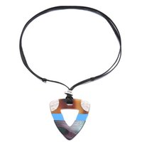 Wholesale black string for necklace women resale online - Big e Acrylic Stitching Pendant Necklace For Women Black String Stretch Ethnic Necklace Jewelry For Women