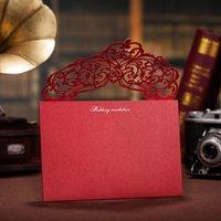 kristalle für einladungen großhandel-Persönlichkeits-rote Gruß-Karten mit Bohrer-Kristall höhlen kreative Blumen-Laser-Schnitt-Hochzeits-Einladungen tragbare entfernbare vorzügliche 4wsa ff. Aus