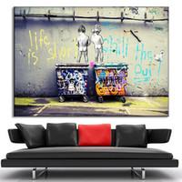 fotos de moda para parede venda por atacado-Moda vida é curta BANKSY pintura da lona parede pictures para sala de estar decoração da parede da arte pictures poster e impressão Sem Moldura