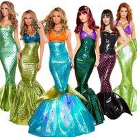 vestido cosplay mujeres traje al por mayor-Traje de Halloween Cosplay Adulto Cosplay Sirena Princesa Vestido Sexy Abrigo Pecho Sirena Falda Cola Para las mujeres