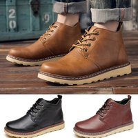 Wholesale mens casual leather motorcycle boots - Mens Casual Oxfords Shoes Ankle Boots Waterproof Martin Boots Work Shoes