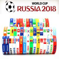 logotipo lembrança venda por atacado-100 pcs 41 País Da Copa Do Mundo Logotipo Da Bandeira Do Esporte Pulseira de Futebol Fãs de Silicone Elástico Wrist Band ID Bracelet Presente Da Lembrança 2018