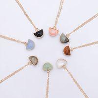 Wholesale purple quartz necklace for sale - Group buy Natural Stone Pendant Necklace Women Luxury Jewelry Green Aventurine Purple Gray Black Yellow White Rose Quartz Crystal Necklace