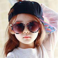 ingrosso occhiali da sole-Neonati Ragazze Bambini Occhiali da sole Occhiali da sole rotondi vintage Occhiali da sole per bambini Vetro 100% protezione UV Oculos De Sol Gafas