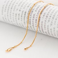 Wholesale 2mm Gold Bead - whole sale2016New fashion Elegant Feminine snake beads gold chain for women 18inch 2mm 1 Gold Color GP filled chokers Chain Necklace