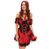 ingrosso caviglia aperta blu-Fantasie Sexy Erotic Role Play Abbigliamento 4 pezzi Miss Red Riding Hood Costume Donna Durement Femmina Halloween LC8977