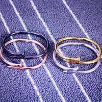 Wholesale Roman Gold Bracelet - couple titanium steel Roman black Pink Gold Silver nail rose gold bracelet Fashion Jewelry For Women and Men