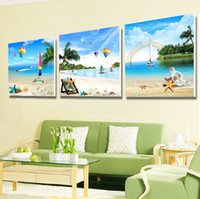 Wholesale beach abstract art for sale - Group buy Home Decor Canvas Wall Painting Sandy Beach Shell And Starfish Seascape Style Art Print Picture Living Room Paintings mh jj