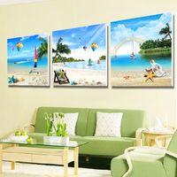 shell-panel großhandel-Wohnkultur Leinwand Wandmalerei Sandy Beach Shell Und Seestern Seascape Style Kunstdruck Bild Wohnzimmer Gemälde 19 9 mh jj
