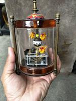 viejos relojes mecanicos al por mayor-Rare Old Qing Dynasty royal clock \ reloj mecánico, jaula de pájaro coppercarved, puede trabajar, pescado, envío gratis