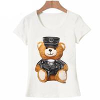 ingrosso orso di orsacchiotto sveglio di modo-2018 nuova moda estiva manica corta da donna super carina vogue Police Teddy T-shirt bianca maglietta a maniche corte cool hipster