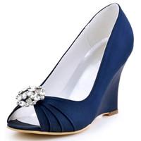 клинья невесты оптовых-Женщины Клин каблуки свадебные свадебные насосы EP2009AH темно-синий чирок Peep Toe горный хрусталь атласная невеста Леди невесты платье выпускного вечера обувь