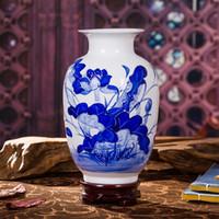 ingrosso vasi antichi-Jingdezhen Ceramics Vases Antique Blue and White Porcelain Crafts Home Accessori Soggiorno Ornamenti alla moda Decorazione