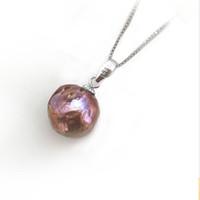 Wholesale natural baroque pendant - Genuine S925 Sterling silver plus 13-15 mm 100% natural Baroque Irregular pearl Pendant Fashion Pendant For women