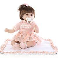 Wholesale Doll Silicone Child - Wholesale-18'' Handmade silicone reborn dolls Real girl baby reborn dolls children gift bonecas brinquedos