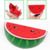 Wholesale Fruit Ornaments - Kawaii squishy cartoon expression simulation fruit watermelon foaming bread cake slow rebound 15 cmresin decorative ornaments squishies toys