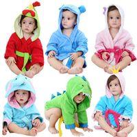 Wholesale baby hat cotton ear resale online - 2018 New Children s Cartoon Animal Model Bathrobe Cotton Baby Bath Towel With Ear Hats Hold Cloak Kids Absorbent Hooded Bathrobe