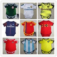 Wholesale Polyester Cotton Shirt - kids 17 18 Real Madrid Baby soccer Jerseys Cotton Short Sleeves Jumpsuit Baby Triangle Climb Clothes Loveclily 2017 2018 baby's jersey shirt