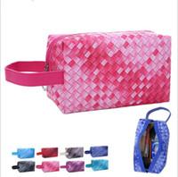 Wholesale white makeup storage boxes - Fashion Gradient Weave Cosmetics Bag Ladies Bag Travel Cosmetics Storage Box Women Makeup Bag 8 color LJJK955