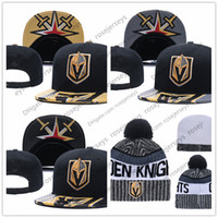 Wholesale Hockey Beanies - Vegas Golden Knights Ice Hockey Knit Beanies Embroidery Adjustable Hat Embroidered Snapback Caps Black Gray White Stitched Hats One Size