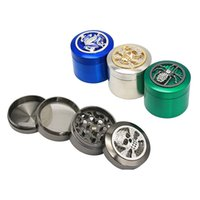 Wholesale metal tobacco pipes for sale resale online - Metal Tobacco Grinders Tools Layer Dry Herb Smash Rainbow Animal Pattern Skull Frog Spider For Sale Screen Pipe