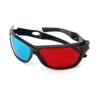 Wholesale plastic anaglyph 3d glasses online - 2017 New Universal D Glasses Plastic Black Frame Red Blue D Vision Glass For Dimensional Anaglyph Movie DVD Video TV Games