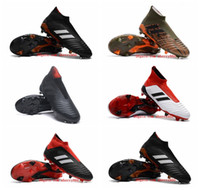 Wholesale womens outdoor soccer cleats resale online - 2018 outdoor mens womens soccer cleats Predator football boots for sale laceless boots boys kids youth high top soccer shoes cheap
