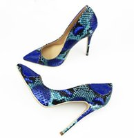 Wholesale sexy woman snake online - 2018 NEW ARRIVE Women Shoes Blue Snake Printed Sexy Stilettos High Heels cm cm cm Pointed Toe Women Pumps