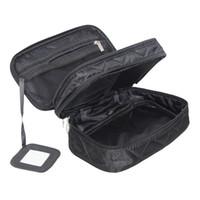 ingrosso sacchetto di trucco doppio strato-Mihawk Double Layer Cosmetic Bag con uno specchio da viaggio Organizer Functional Makeup Pouch Toiletry Brush Vanity Case Accessori per le donne