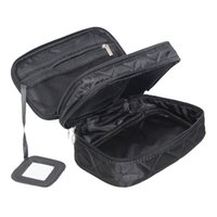 Wholesale travel cases for women - Mihawk Double Layer Cosmetic Bag With A Mirror Travel Organizer Functional Makeup Pouch Toiletry Brush Vanity Case Accessories For Women