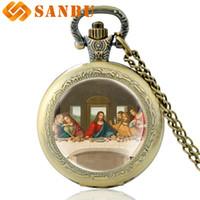 quarzuhr funktioniert großhandel-Vintage Bronze Da Vinci Werke das letzte Abendmahl Quarz Taschenuhr Retro Männer Frauen klassische Anhänger Halskette Uhr