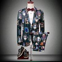 tierdruck hundemäntel großhandel-Männer Trendy Bühne Clubwear Mantel Hosen Slim Fit Tier Hund Gedruckt Blazer Jacke 2 STÜCKE F59