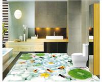 Wholesale raining wall painting - Customized 3D wallpaper floor painting wall paper Waterproof Self-adhesive Flooring Wall Sticker 3D rain flower stone nine fish figure floor