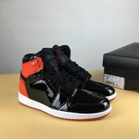 """Wholesale Mirrored Fabric - Wholesale Air Retro 1 OG High Men Basketball Shoes NRG """"Bred"""" Women Sports Shoes MIRROR BLACK RED Athletic Trainers 2018 Sneakers"""