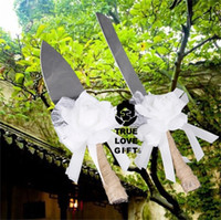 Wholesale chef knifes set for sale - Group buy Wedding Cake Knife Shovel Suit Gift Box Burlap Linen Color White Lace Flower Love Kitchen Tool Party Supplies yr bb