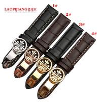 dişli saatler toptan satış-Yeni Stil 18mm 19mm 20mm 21mm 22mm Yeni Siyah Kahverengi Hakiki Deri Watchband Watch Band Kayışı Bilezikler Beyaz konu ile