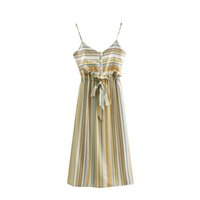 Wholesale sexy breast harnesses resale online - Elegant Vertical Stripes Print Harness Dress Sexy V Neck Elastic Waist Bow Tie With Single breasted Decoration Women Beach Dress
