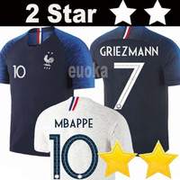 Wholesale red black shirts - 2 Stars Thailand GRIEZMANN MBAPPE POGBA soccer jerseys 2018 world cup shirts DEMBELE MARTIAL KANTE jerseys football GIROUD Maillot de foot