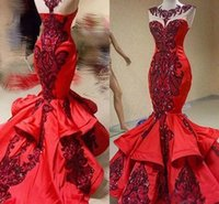 seksi gösterişli kırmızı balo elbiseleri toptan satış-Glamorous Kırmızı Mermaid Abiye Sequins Fırfır Sheer Saten Dubai Vestidos De Dresses Parti Elbise Balo Örgün Pageant Ünlü Abiye
