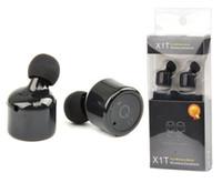 blackberry headphones mic groihandel-X1T Twins Wireless Bluetooth Headset Doppelte echte drahtlose Kopfhörer Handfree CSR V4.2 Mini unsichtbare Kopfhörer mit Mikrofon mit Paket LLFA