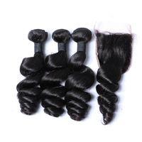 Wholesale Malaysian Wavy Virgin Hair 4pcs - Indian Loose Wave With Closure 4pcs Lot Unprocessed Virgin Wavy Human Hair Weaves Closure Swiss Lace