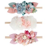 ingrosso fiori dei capelli belli-Bella fascia floreale artificiale per bambini in pizzo fiore Nylon Head Bands per capelli elastici per neonati Fascia Accessori per capelli