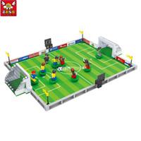 futebol de brinquedo venda por atacado-Marca Compatível Cidade de Futebol Modelo de Campo de Construção Kit Crianças Educacionais Tijolos Blocos Copa Do Mundo Hegemon Figuras Brinquedos