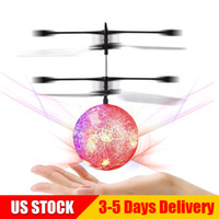 Wholesale flash remote controller for sale - Cracked Paint Flying Ball Infrared Induction RC Flying Balls Built in LED Light Disco Helicopter Colorful Inductive Ball G US STOCK