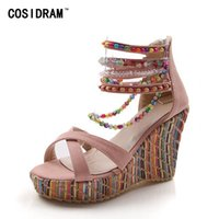 Wholesale girl wedges - Summer Fashion Woman Sandals Shoes Bohemian Sandals Comfortable Sweet Wedge Heels Shoes for Girls