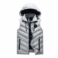 Wholesale Korean Men Winter Vest - 2017 Autumn Winter Men Vest Korean Style Waistcoat Jacket Men Slim Fashion Hooded Comfortable Vest Cotton-Padded Coats