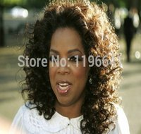 Wholesale cheap celebrity hair for sale - Celebrity oprah curly cheap lace front brazilian hair wig for black women free ship inch colors for sale