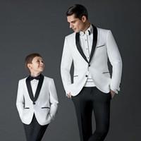 Wholesale Kids Blazers Boys - 2017 New Style boys suits for weddings Children Suit new Black White Kid Wedding Prom Suits blazers for boys (Jacket+Pants+Tie )